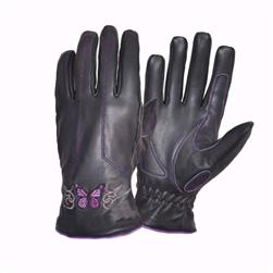 Purple Butterfly Leather Women's Motorcycle Gloves
