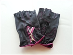 Women's Leather Motorcycle Gloves: Pink Fingerless