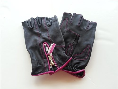 Women S Leather Motorcycle Gloves Pink Fingerless