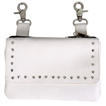 "White Leather ""Hip Purse"" - Biker Pouch"