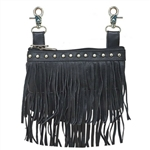 Double Fringe Leather Studded Hip Purse
