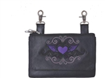 Biker Leather Hip Clip Belt Bags -  Purple Heart