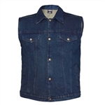 Men's Classic Denim Collar Motorcycle Vests