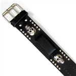 Mens Biker Leather Watch Band: Chrome Skull