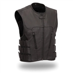 Premium Leather Icon Motorcycle Vest for Men