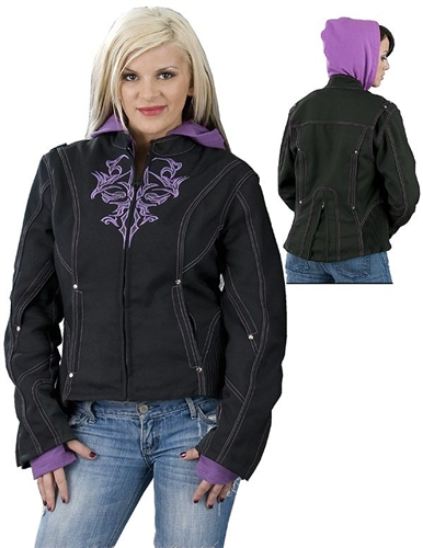 Women S Purple Motorcycle Jacket With Hoodie Leather