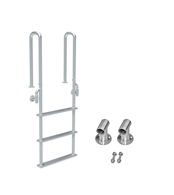 "Three Step, Fixed, Short Front-Mount, Stainless Steel Dock Ladder (Handles 3"" Deep)"
