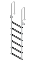 "Six Step, Fixed, Short Front-Mount, Stainless Steel Dock Ladder  (Handles 3"" Deep)"