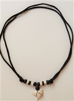 "10206 3/4""-1"" Tiger Shark Teeth Necklace with Satin Double Cord"
