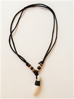 10210-1 Teeth Necklace with Black Satin Double Cord