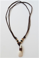 10210-2 Teeth Necklace with Dark Brown Satin Double Cord