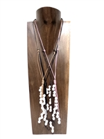 13007 Fresh Water Pearl with Leather Cord Necklace