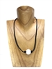 13008 Pearl with Leather Cord Necklace