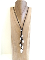 13009 Pearl with Leather Cord Necklace