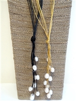 13013 8pcs Fresh Water Pearl with Leather Cord Necklace