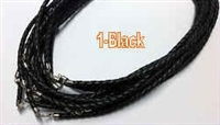 "20448 4mm Braid Leather necklace with silver claps 16"", 18"" & 20"""