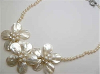 20657 MOP 3 flowers Combo with Single Pearl Necklace