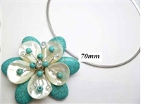 20670-22 Turquoise 1 flower pendant with Cable Necklace
