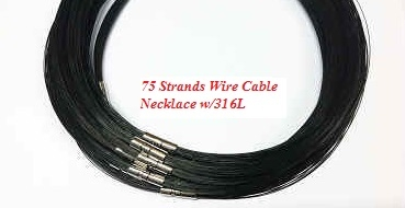 20720 75 Strands Wire Cable Necklace w/316L 18""