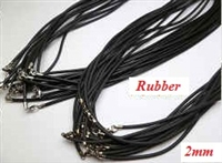 "20732 2mm Rubber Necklace w/925 Silver Claps 16"", 18"" 20"""