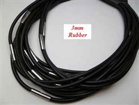"20746 3mm Rubber Leather Necklace w/316L 16"", 18"" 20"""