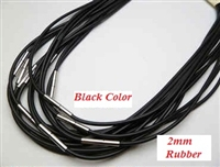 "20760 2mm Rubber Leather Necklace w/316L 16"", 18"" 20"""