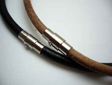 "20765 6mm Leather Necklace with Twist Clap 18"", 20"""