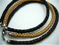 "20766 10mm Leather Necklace with 925 Silver Clap 18"", 20"""