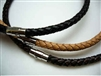"20767 6mm Braid Leather Necklace with 316L Twist Claps 18"", 20"""