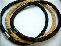 "20768 10mm Braid Leather Necklace with 316L Twist Claps 18"", 20"""