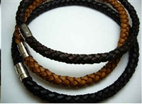 "20769 10mm Braid Leather Necklace with 316L Twist Claps 18"", 20"""