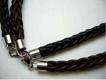 "20770 6mm Braid Leather Necklace with 925 silver 18"", 20"""