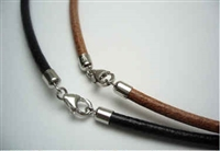 "20786 4mm Leather necklace with solid silver claps 16"", 18"" & 20"""