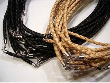 "20787 3mm Braid Leather necklace with solid silver claps 16"", 18"" & 20"""