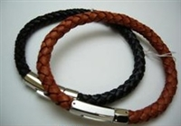 20804 Leather Bracelet with Stainless Steel Claps