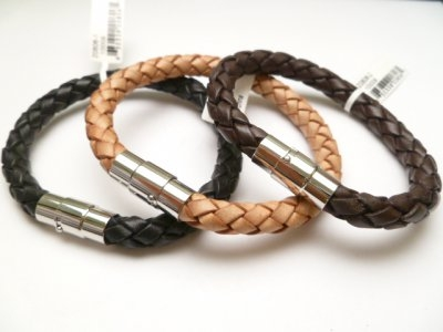 20806 Leather Bracelet with Stainless Steel Claps