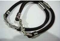 20807 Leather Bracelet with Stainless Steel Claps
