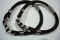 20808 Leather Bracelet with Stainless Steel Claps