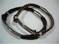 20811 Leather Bracelet with Stainless Steel Claps