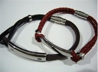 20812 Leather Bracelet with Stainless Steel Claps