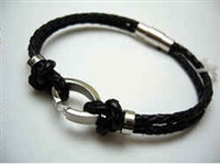 20814 Leather Bracelet with Stainless Steel Claps