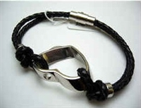 20815 Leather Bracelet with Stainless Steel Claps
