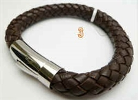 20816-10 10mm Leather Bracelet with Stainless Steel Claps