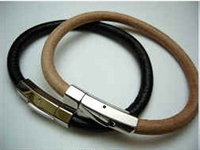 Leather Bracelet with Stainless Steel Claps