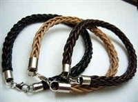 20822 Leather Bracelet with Stainless Steel Claps