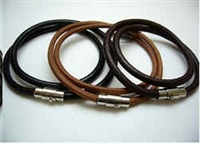 20824 Leather Bracelet with Stainless Steel Claps