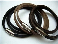 20825 Leather Bracelet with Stainless Steel Claps