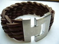20833 Leather Bracelet with Stainless Steel Claps