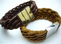 20834 Leather Bracelet with Stainless Steel Claps