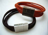 20835 Leather Bracelet with Stainless Steel Claps